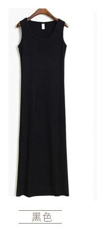 Новое поступление, весенне-летнее однотонное хлопковое повседневное длинное платье без рукавов, женское приталенное платье в пол с круглым вырезом, женское платье-жилет - Цвет: black