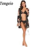 Tengeio Chiffon Cardiga Floral Print Boho Clothing Summer Sexy Party Blouses V Neck Long Sleeve Slim