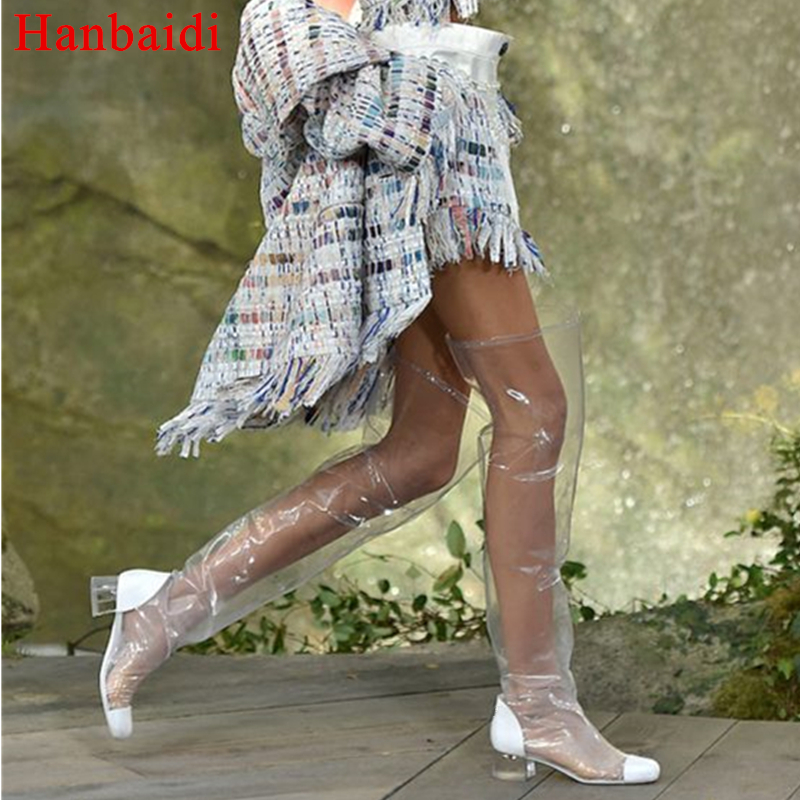 Hanbaidi Sexy PVC Clear Women Summer Boots Runway Round Toe Mid Heel Over the Knee Boots Party Wedding Shoes Women Zapatos Mujer new arrival superstar genuine leather chelsea boots women round toe solid thick heel runway model nude zipper mid calf boots l63