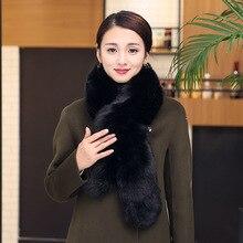 Зимние модные новые женские шарфы из искусственного меха с воротником из искусственного лисьего меха