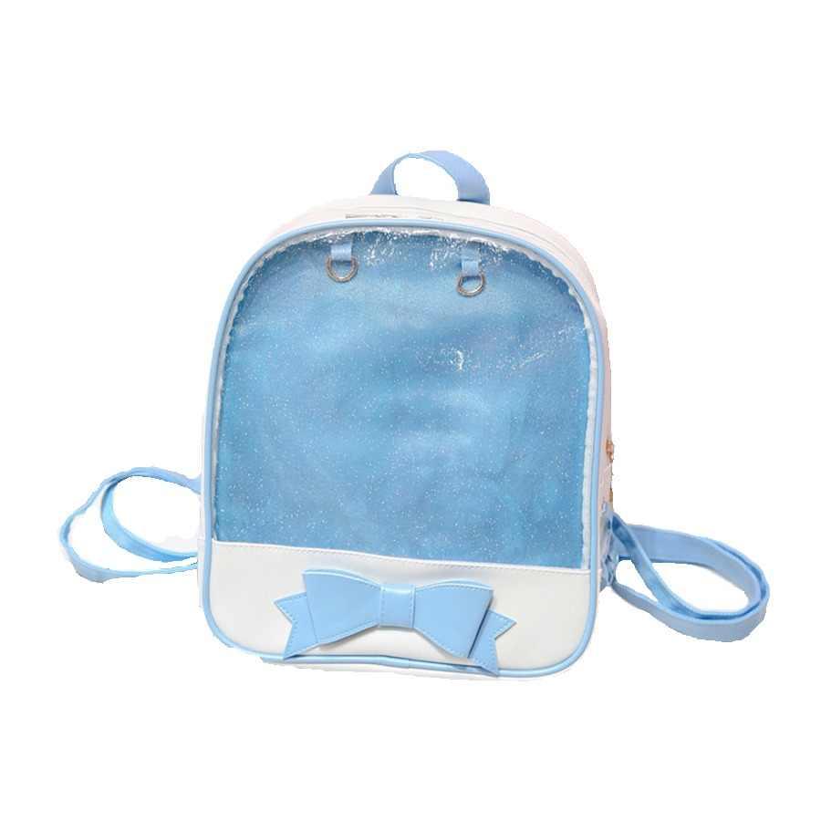 PVC Transparent Clear PU Leather Women Backpack Ita Bag Harajuku Bow School  Bag For Teen Girls 93c5876a652d