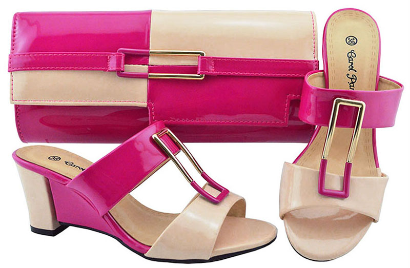 Fashion shoe and bag set for african aso ebi party slippers and clutches  bag fushia pink f4b90447efe1