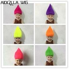 Heat Resistant 25-28cm Head Circle Doll Wig for 18 American Wigs 6 Colors Short Hair Troll  Aidolla