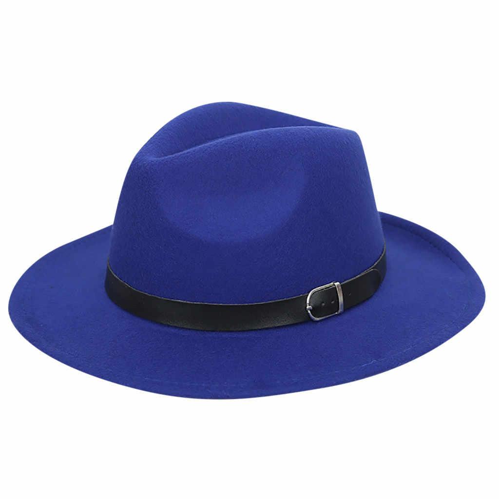 8d8c3bcb8724cf ... ISHOWTIENDA White Hat Women's Crushable Wool Felt Outback Hat Panama  Hat Wide Brim with Belt Sombreros ...