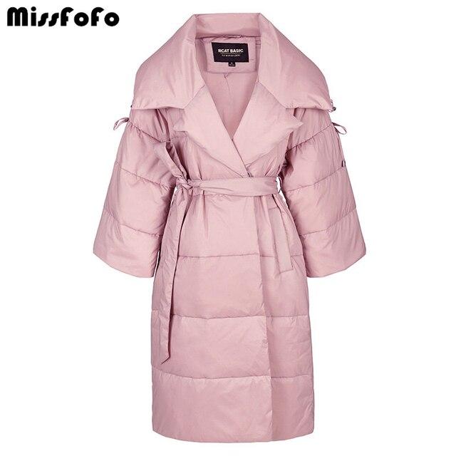 Missfofo Пух 2016 Новая зимняя куртка розовый тонкая талия большие нагрудные с длинным Дизайн Для женщин Пух пальто S-2XL