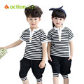 Actionclub 2016 Children Clothes Set Boys Summer Clothing Set Short Sleeve T-shirt and Pants For Girls Boys Stripe Shirt Suit