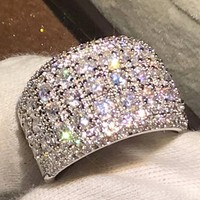 Широкий безымянный палец для Для женщин сверкающие украшения 925 Серебро Проложить полный 5A циркония милые свадебные Обручение кольцо подар