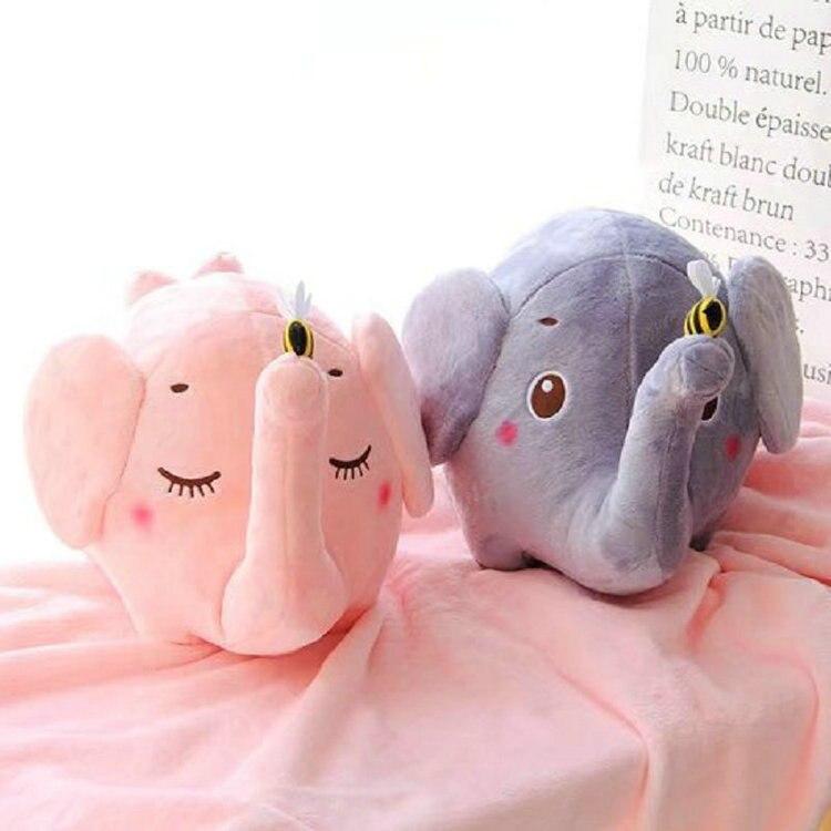 US $27.88 45% OFF Kinderzimmer Dekoration Spielzeug Kinder  Geburtstagsgeschenke Stofftier Spielzeug 2 in 1 Decke Neuen Stil rosa/grau  Elefant plüsch ...