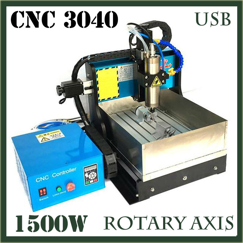 JFT Metal Engraving Machine with Water Tank 1500W Spindle Motor 4 Axis Wood CNC Router with USB 2.0 Port 3040 3 axis cnc machine 3040 cnc 800w usb port metal engraving machine with water sink