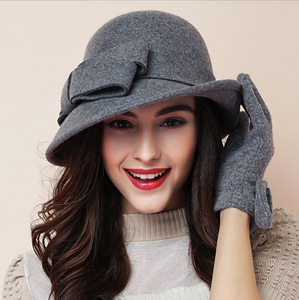 Image 2 - 2017 Yeni Kış sıcaklık Moda Yay Fedora Lady Şapka Kubbe zarif Bayanlar Için Kadınlar Için Yün Topper Ilmek Şapka Kışlar kadınlar