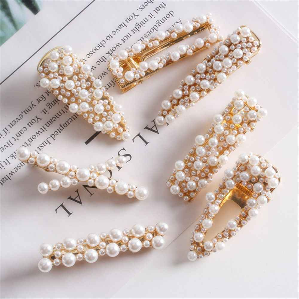 New Fashion Women Pearls Hair Clip Hairpins Barrettes Gold Color Metal Hair Accessories Chic Waterdrop Shape