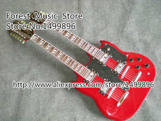 Cheap Wholesale & Retail Blood Red G Custom Shop Double Neck 6 & 12 Strings SG Electric Guitars Left Handed Available