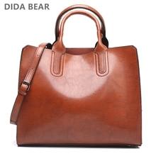DIDA BEAR Women Leather Bags Vintage Handbag Casual Female Bag High Quality Trunk Tote Ladies Shoulder Bag Large Messenger bag