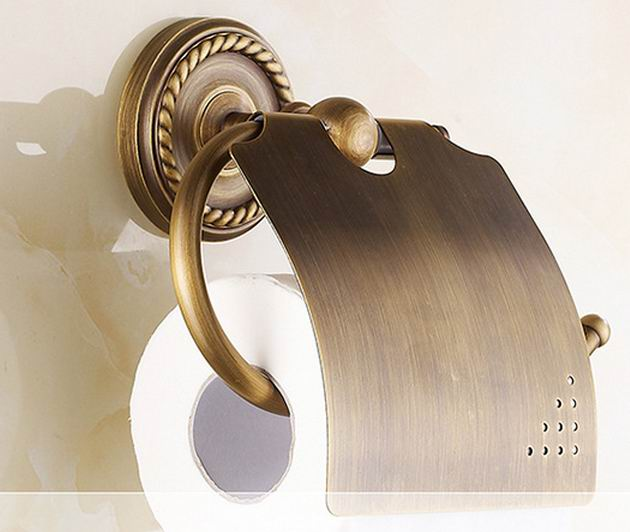 Free shipping Antique bronze finishing wall-mounted paper holder toilet paper holder gold finish bathroom accessories Roll Holde luxury golden color toilet paper holder wall mounted roll toilet paper rack with cover bathroom accessories free shipping 3308