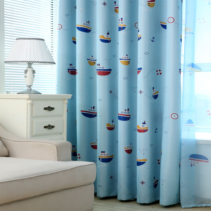 blackout bedroom window curtains for children blue baby
