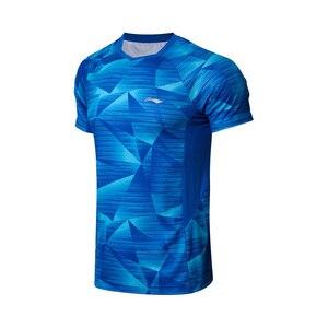 Image 5 - Li Ning, мужские футболки для бадминтона, дышащие, комфортные, для фитнеса, соревнований, верхняя подкладка, спортивные футболки, футболка, AAYN259 MTS2845