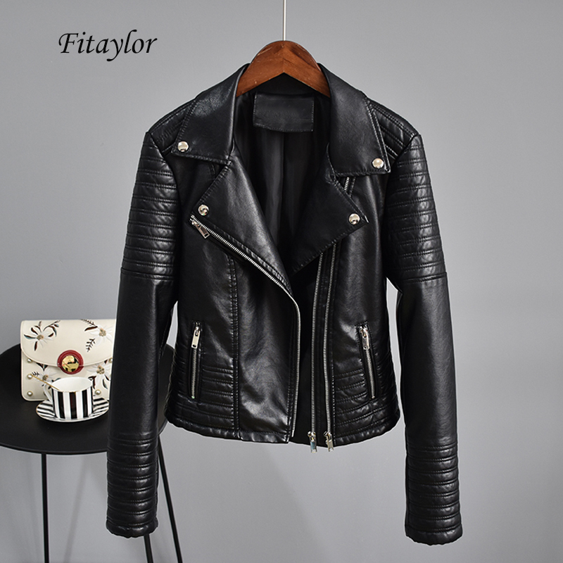 Fitaylor Motorcycle Faux   Leather   Jackets Autumn Women Long Sleeve Black Punk Bomber Short Jacket Female Rivet Zipper Outerwear
