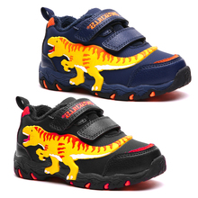 Dinoskulls Sneakers Boys Velvet Fashion Kids Shoes 3D Dinosaur 2019 Winter Children's Trainers Sport Tennis Shoes for Baby Boy
