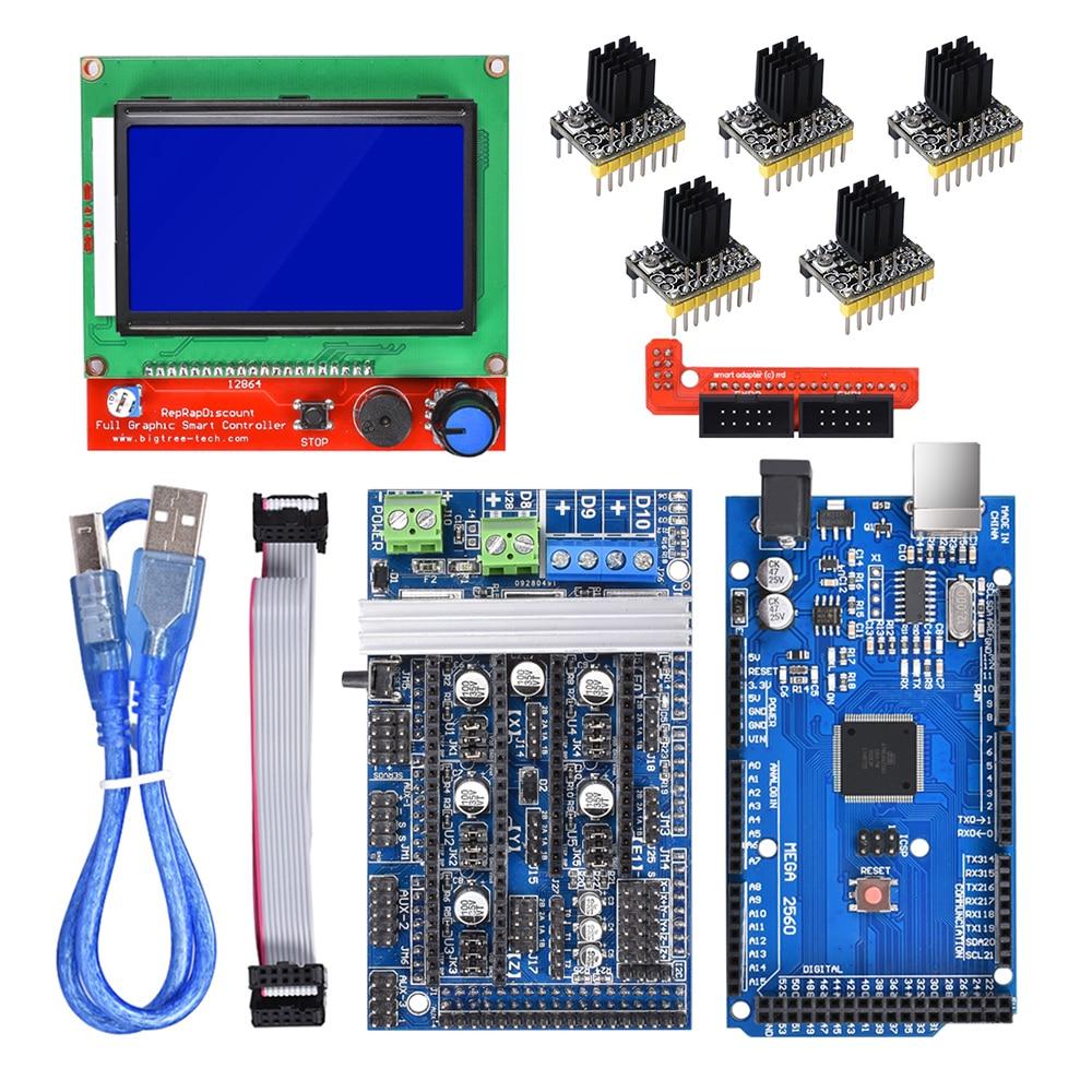 Rampas 1,6 base de actualización de placa en rampas 1,4 1,5 + Mega 2560 + 12864 pantalla LCD + A4988/TMC2130 controlador de motor paso a paso piezas de impresora 3d