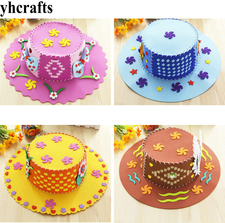 2pcs/lot.4 Design Choose,diy Foam Kids Sun Hat Craft Kits Early Educational Toy Kindergarten Crafts Diy Toys Adult Diy Oem To Clear Out Annoyance And Quench Thirst Model Building Kits
