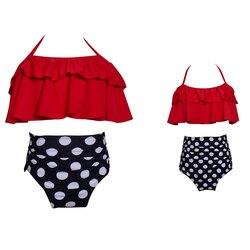 Одинаковые Семейные купальные костюмы для мамы и дочки; бикини; купальник для мамы и дочки; купальные костюмы для маленьких девочек; пляжная... 4
