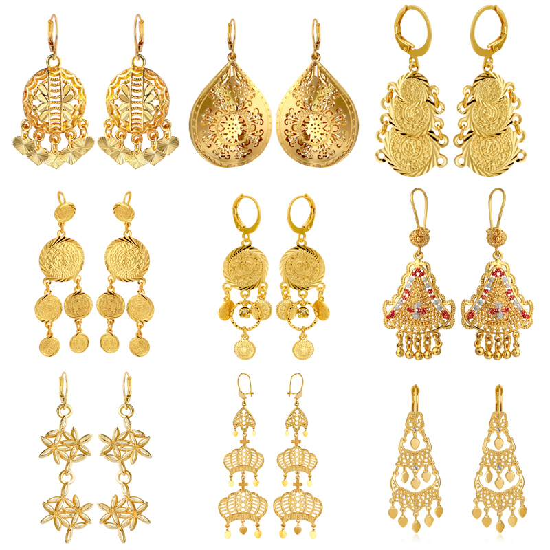 CWEEL Vintage Drop Earrings For Women Jewelry Gold Color Fashion Dangle Geometric Statement Earrings Wedding Party Girl Gifts