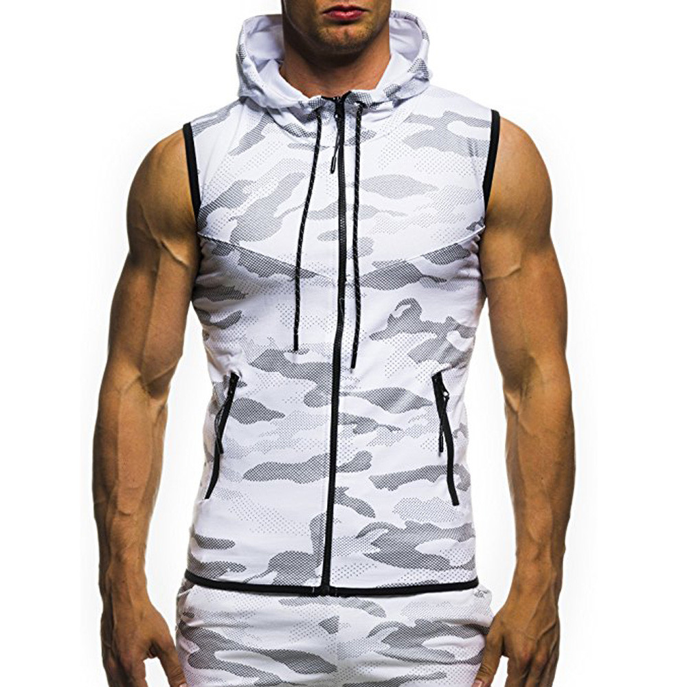 New Fashion 2019 Men's debardeur homme Summer Casual Camouflage Print Hooded Sleeveless zipper vest   Top   Vest   tank     top   for men