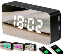 New Style Creative Mobile Phone Charging Mirror Alarm Clock Snooze Voice Make-up Led Can Color Manufacturer Wholesa