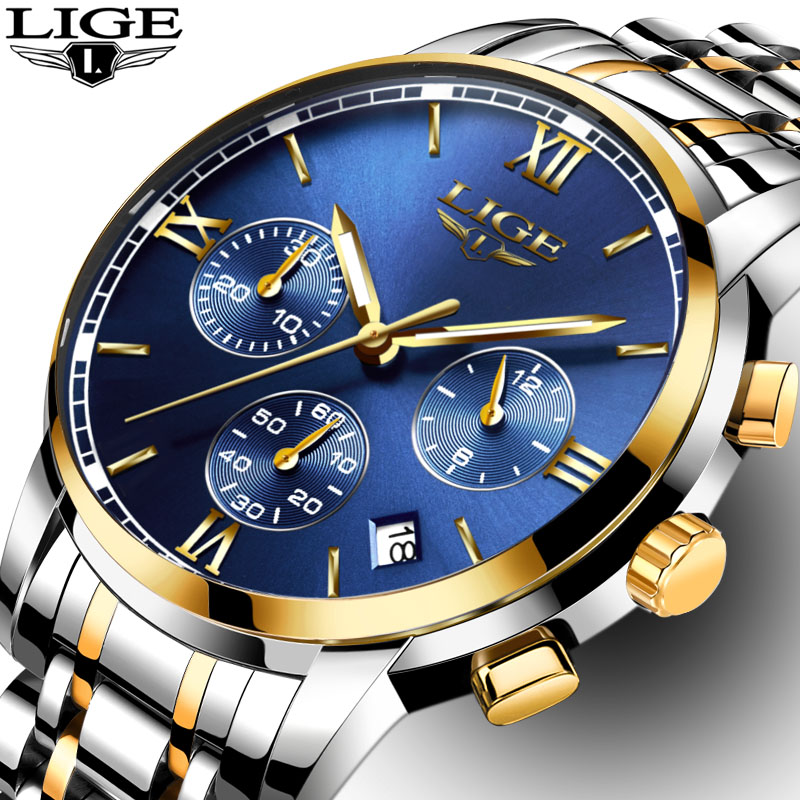 Luxury Brand LIGE Watches Men Fashion Sport Military Quartz Watch Men Full Steel Business Waterproof Clock Man Relogio Masculino new fashion mens watches gold full steel male wristwatches sport waterproof quartz watch men military hour man relogio masculino