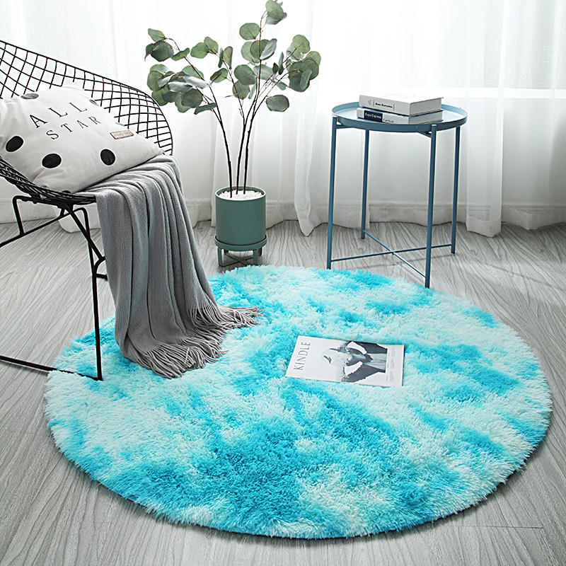 New Arrival Round Tie-dyed Carpet Nordic Ins Bedroom Bedside Rug Computer Chair Yoga Rug Living Room Coffee Table Mat