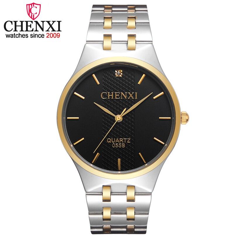 405116dcc CHENXI العلامة التجارية الفاخرة بسيطة الذهب والفضة حجر الراين ووتش أزياء  الرجال عارضة الأعمال للماء الصلب الكامل الكوارتز الذكور ساعة اليد