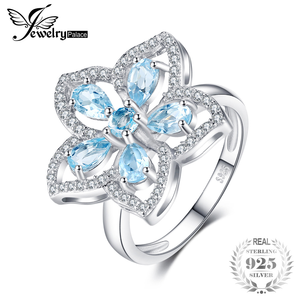 JewelryPalace Flower 1.5ct Natural Sky Blue Topaz Cocktail Ring 925 Sterling Silver Rings for Women Trendy Party Fine Jewelry