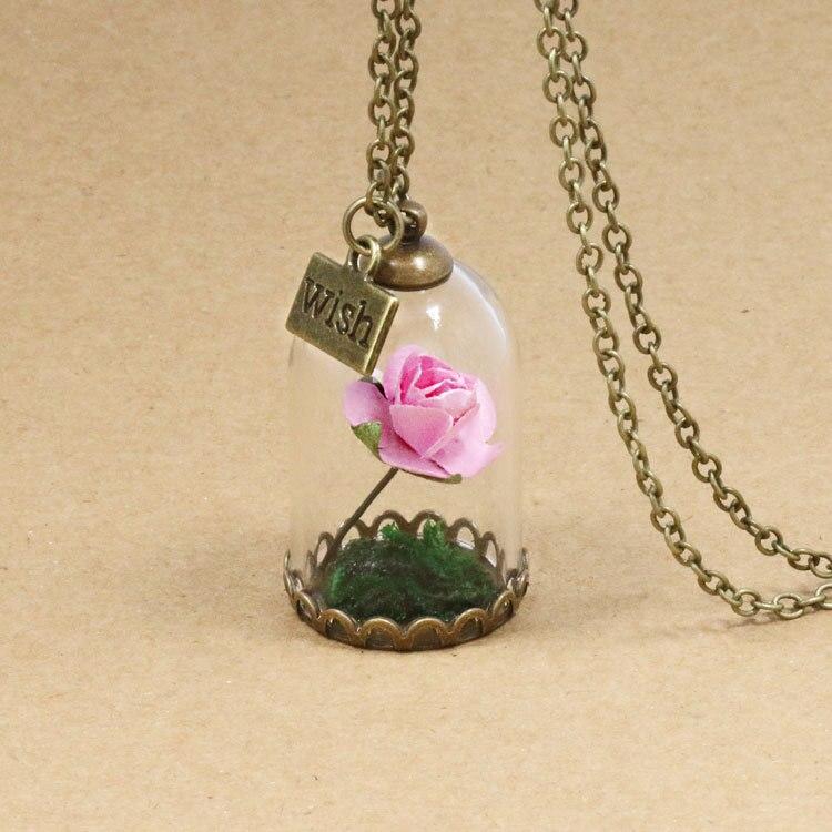 HTB1snxJQFXXXXcMXXXXq6xXFXXX5 - 1PC jewelry Beauty and the Beast Necklace Wish Rose Flower in Glasses Pendant Necklace PTC 198