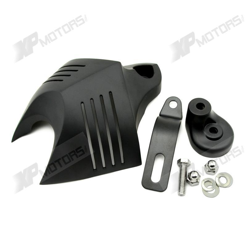 Prix pour Moto Noir Stock Sonnaille Corne CoverFor Harley Davidson Dyna Fat Bob Softail Sportster Electra Road King Street Glide Visite