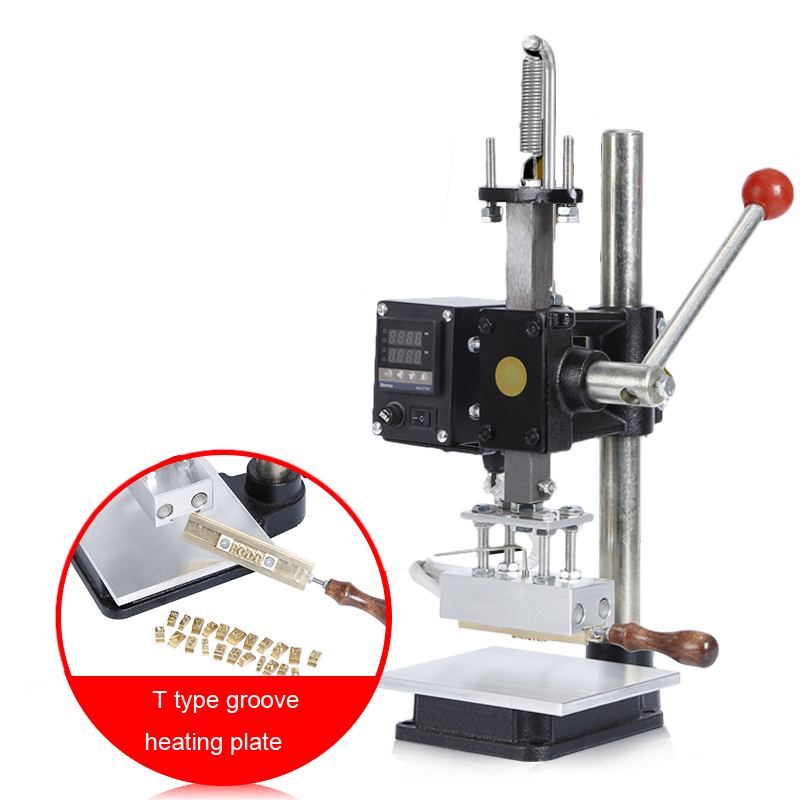 220V Manual Hot Foil Stamping Machine 500W T-slot Pressure Mark Machine for PVC leather PU Paper Embossing Bronzing Tool M Size a4 size manual flat paper press machine for photo books invoices checks booklets nipping machine