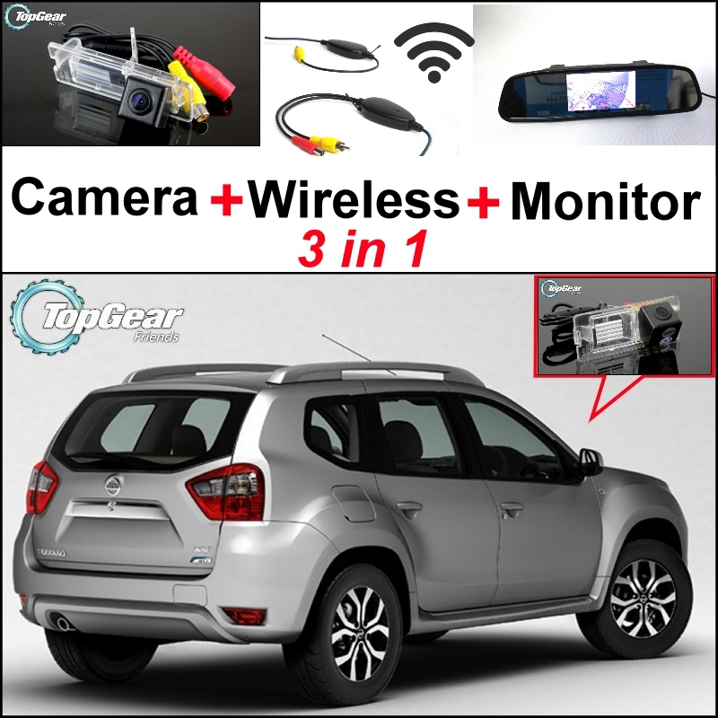 Special Rear View Wifi Camera + Wireless Receiver + Mirror Monitor Easy DIY Back Up 3 in1 Parking System For Nissan Terrano wireless pager system 433 92mhz wireless restaurant table buzzer with monitor and watch receiver 3 display 42 call button