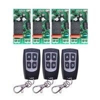 AC 220 V 1CH 10A Relay RF Wireless Remote Control Switch Wireless Light Switch 4PCS Receiver