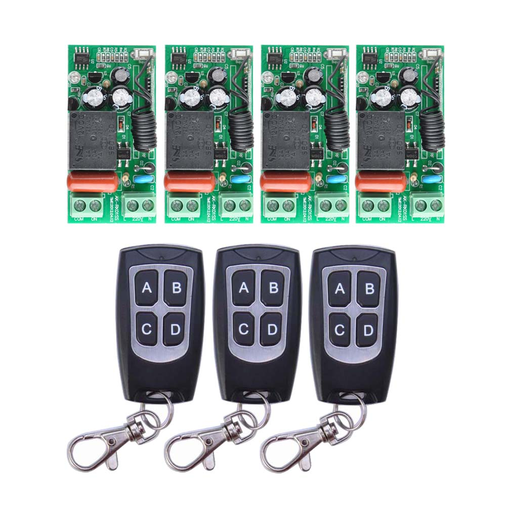 AC 220 V 1CH 10A Relay RF Wireless Remote Control Switch Wireless Light Switch ; 4PCS Receiver + 3PCS Transmitter top quality 16ch wireless remote control switch rf 3pcs transmitter 1pcs receiver dc24v 7a remote control switch for water pump