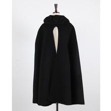 New Women Hooded Cloak Coat Bat Sleeve Long Poncho Cape Coat Woolen Shawl Plus Size Irregular Ponchoes(China)