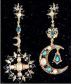 Star Jewelry Fashion jewelry Moon And Sun Crystal Long Stud Earrings For Women New 2014 Gift Wholesale