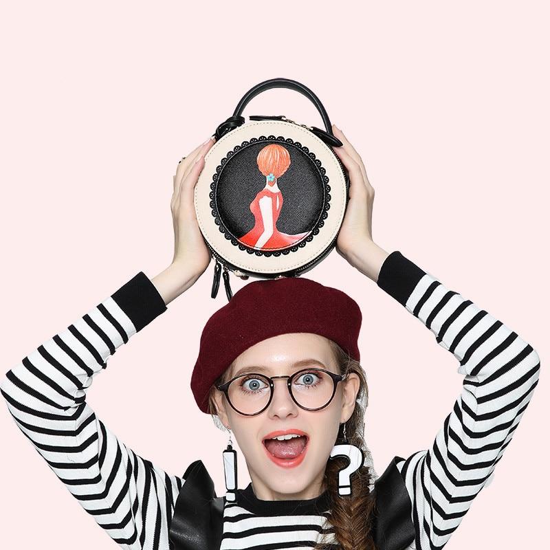 2018 vrouwen tas nieuwe tij ronde vrouwelijke cartoon geschilderd tas kwastje mini Messenger bag mode schoudertas kleine zwarte ronde tassen - 2