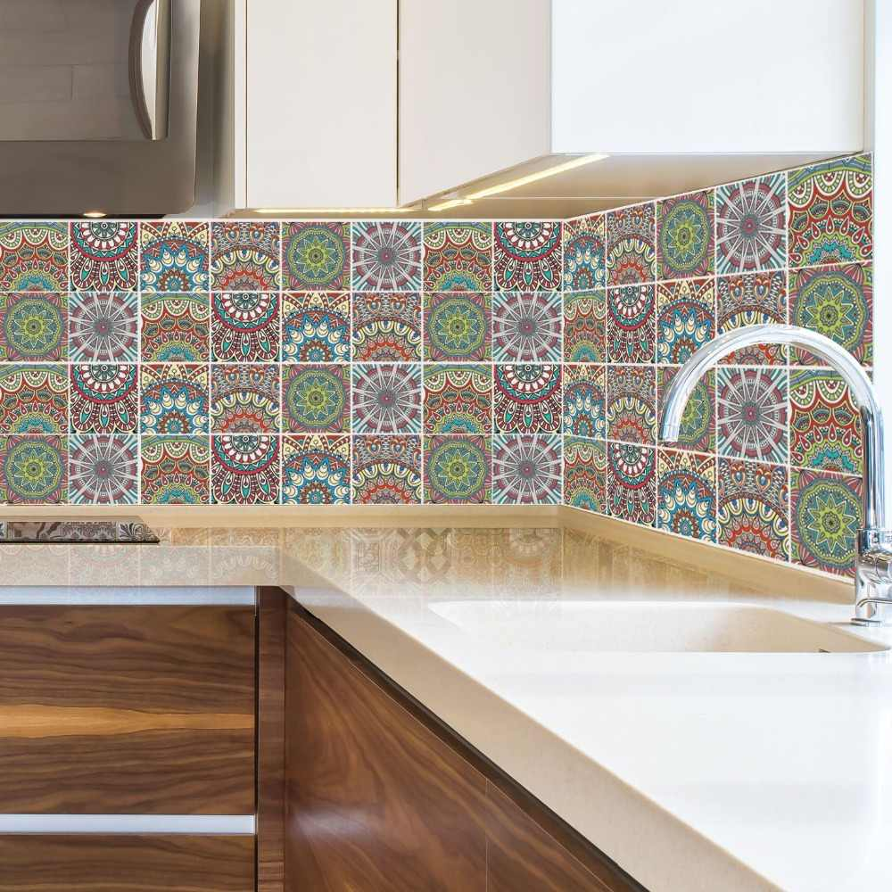 - 6pcs/set Potugal Retro Ceramic Tile Stickers For Kitchen