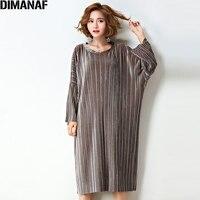 DIMANAF Plus Size Women Dress Pieghe Cotone Streetwear Solido Moda Femminile Oversize Elegante Manica Lunga Europeo 2017 Abiti