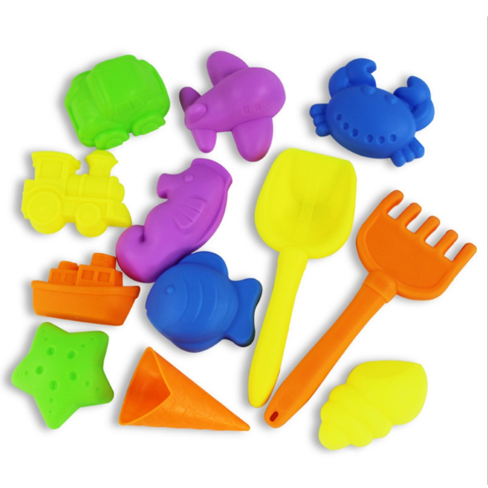 12Pcs Sand Play Set Children Kids Beach Play Toy Novelty Sand Mold Shovel Beach Toys For Children Color Random
