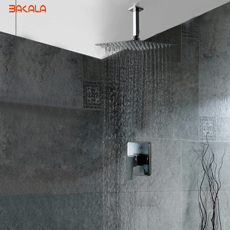 NEW Chrome 8 10 12 16 inch shower head Bathroom ceiling rain shower Concealed ceiling mount with ceiling arm sets