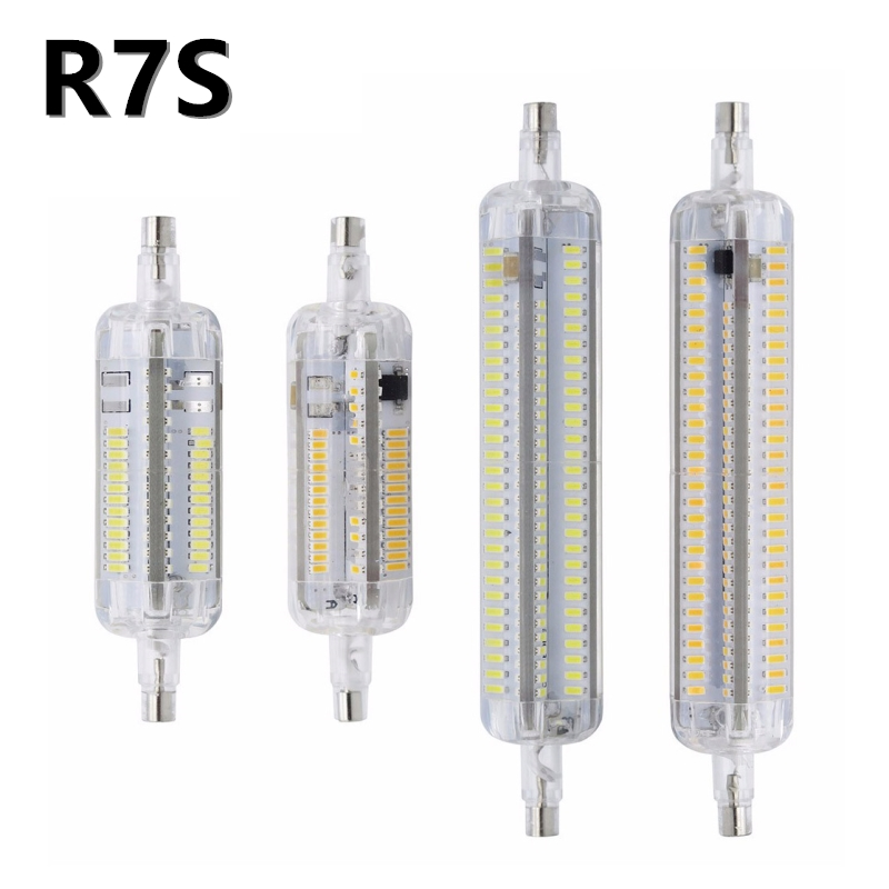 Real power Silicone <font><b>R7S</b></font> <font><b>LED</b></font> Lamp AC 220V AC 110V <font><b>LED</b></font> BULB 78mm <font><b>118mm</b></font> SMD 3014 Ampoule 7W 10W Remplacer Halogene <font><b>Bombillas</b></font> 360 image