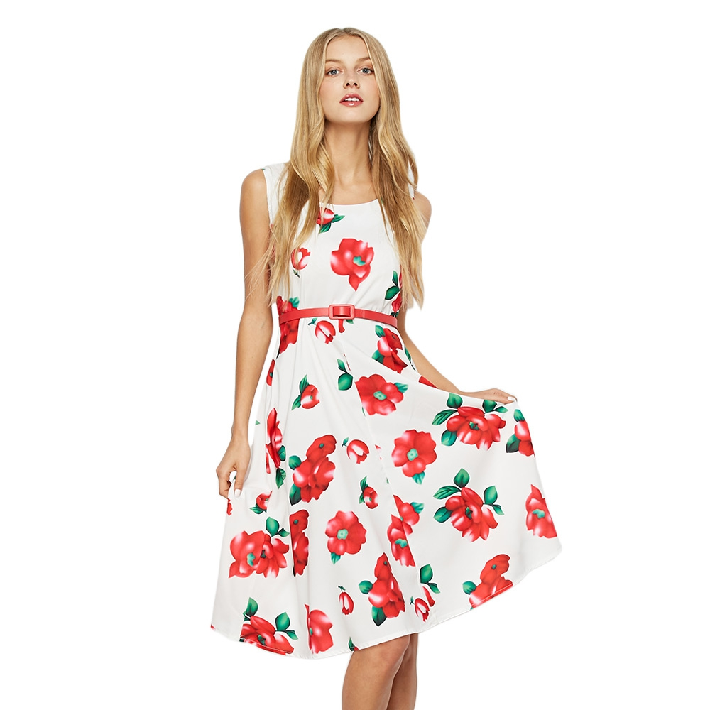 75e138521bb 2017 Bohemia Floral Print Vintage Spring Summer Women Dress Sleeveless  Casual Midi Dresses with Belt White Black Beach vestidos