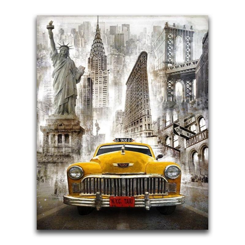 5d diy diamond painting new york Diamond Embroidery sale Cross Stitch kits Diamond Mosaic painting car home decoration scenery
