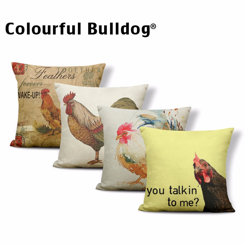 Rooster Pillow Cover Animal Realistic Chicken Cushion Case Oil Painting Hummingbird Bed For Kid Retro Hen Toss Pillow 17.7 Linen
