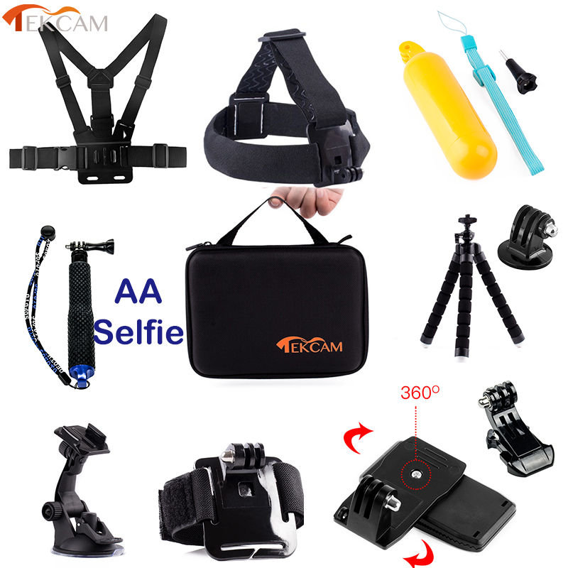 Tekcam Accessories Set Mounts for Gopro hero 6 hero 5 Gopro 6 5 Xiaomi yi 4k/yi 4 k Accessories Mijia Sjcam SJ5000 SJ4000 SJ6 2pcs hard case storage box protective cover for xiaomi yi gopro hero 5 4 3 hero5 sjcam sj4000 sj5000 camera rechargeable battery